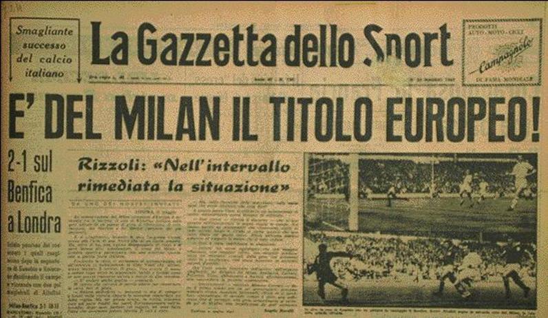 1963 coppa dei campioni al Milan